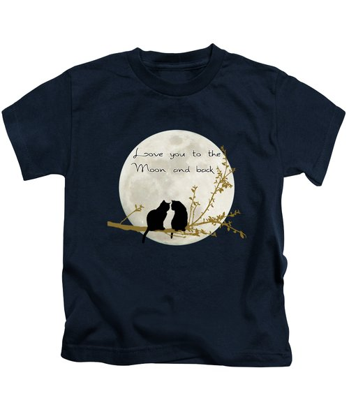 Love You To The Moon And Back Kids T-Shirt by Linda Lees