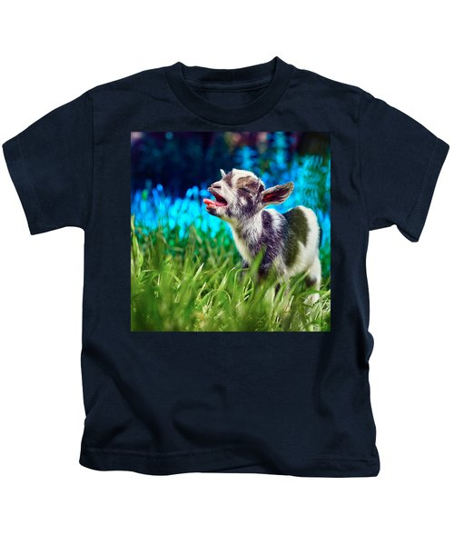 Baby Goat Kid Singing Kids T-Shirt