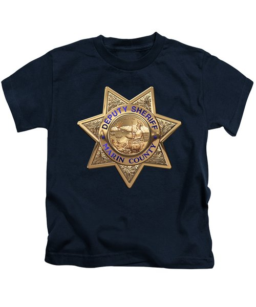 Marin County Sheriff's Department - Deputy Sheriff's Badge Over Blue Velvet Kids T-Shirt
