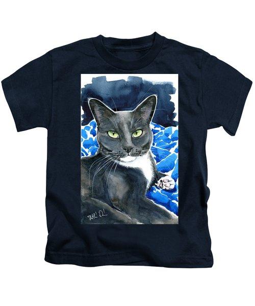 Melo - Blue Tuxedo Cat Painting Kids T-Shirt