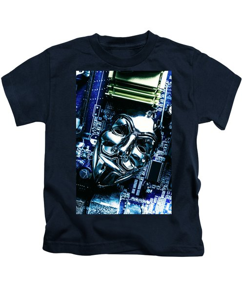 Metal Anonymous Mask On Motherboard Kids T-Shirt