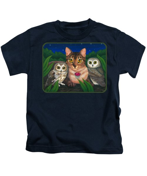 Midnight Watching - Abyssinian Cat Saw Whet Owls Kids T-Shirt
