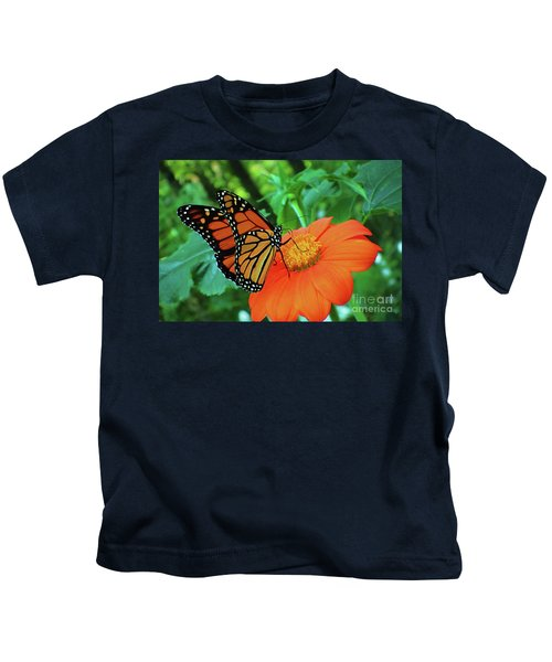 Monarch On Mexican Sunflower Kids T-Shirt