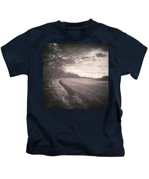 #monochrome #landscape  #field #trees Kids T-Shirt
