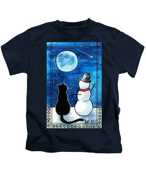 Moon Watching With Snowman - Christmas Cat Kids T-Shirt