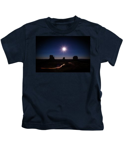 Moonlight Over Valley Kids T-Shirt