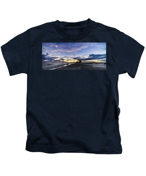 Moonlit Beach Sunset Seascape 0272c Kids T-Shirt