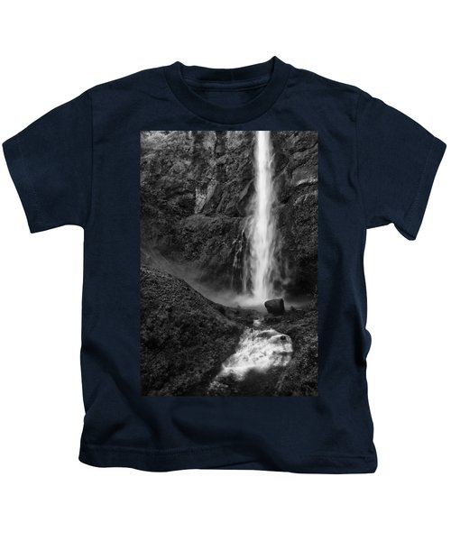 Multnomah Falls In Black And White Kids T-Shirt