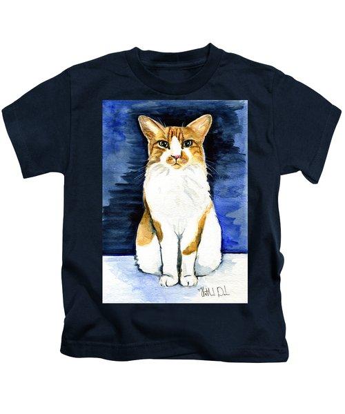 Mustached Bicolor Beauty - Cat Portrait Kids T-Shirt