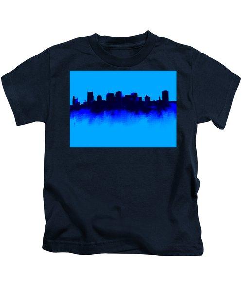 Nashville  Skyline Blue  Kids T-Shirt by Enki Art