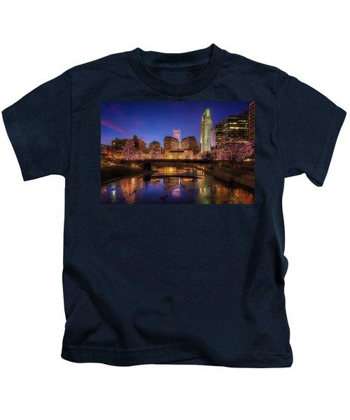 Night Cityscape - Omaha - Nebraska Kids T-Shirt