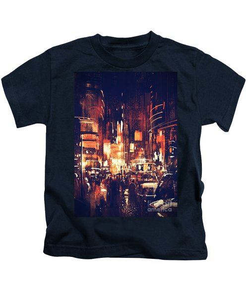 Kids T-Shirt featuring the painting Night Life by Tithi Luadthong