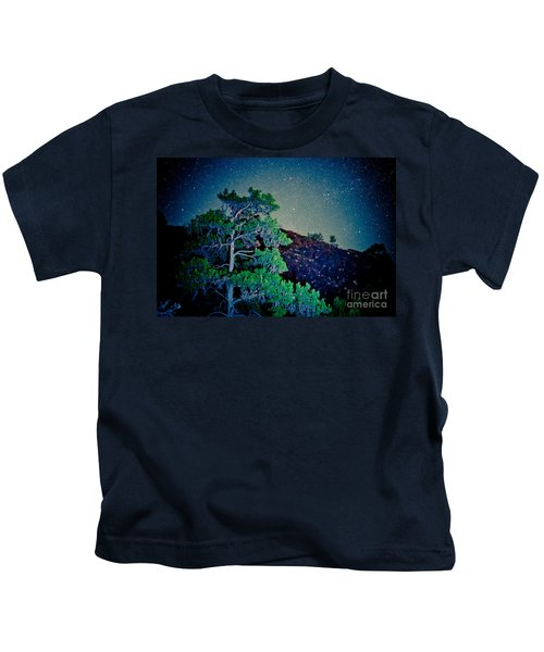 Night Sky Scene With Pine And Stars Artmif.lv Kids T-Shirt