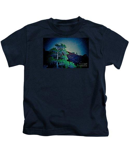 Night Sky Scene With Pine And Stars Artmif.lv Kids T-Shirt