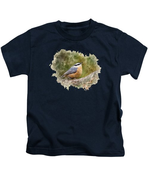 Nuthatch Watercolor Art Kids T-Shirt