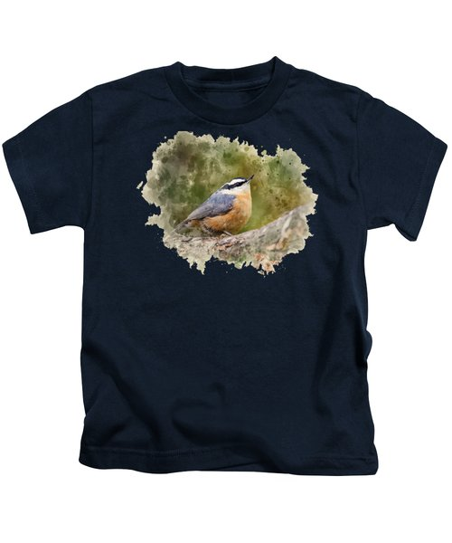Kids T-Shirt featuring the mixed media Nuthatch Watercolor Art by Christina Rollo