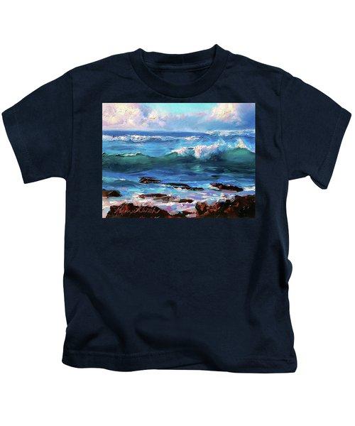 Coastal Ocean Sunset At Turtle Bay, Oahu Hawaii Beach Seascape Kids T-Shirt