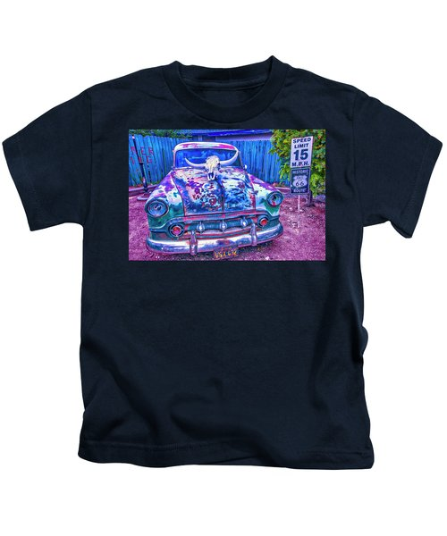 Old Car With Steer Skull Kids T-Shirt