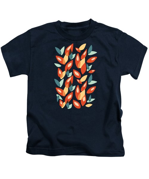Orange Blue Yellow Abstract Autumn Leaves Pattern Kids T-Shirt