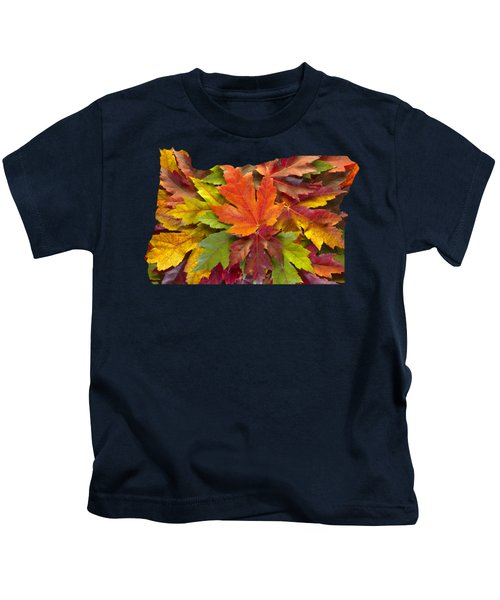 Oregon Maple Leaves Mixed Fall Colors Background Kids T-Shirt