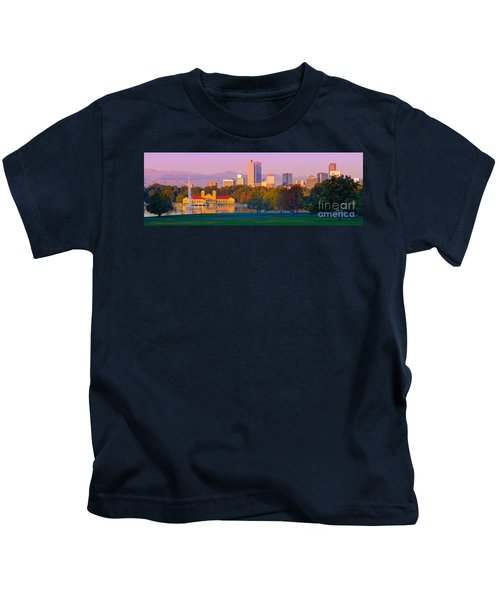 Panorama Of Denver Skyline From Museum Of Nature And Science - City Park Denver Colorado Kids T-Shirt