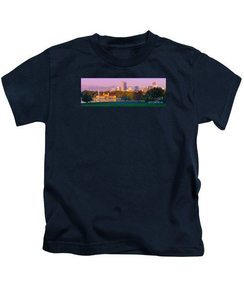 Panorama Of Denver Skyline From Museum Of Nature And Science - City Park Denver Colorado Kids T-Shirt