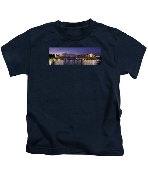 Panorama Of Waco Suspension Bridge Over The Brazos River At Twilight - Waco Central Texas Kids T-Shirt