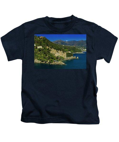 Paraggi Bay Castle And Liguria Mountains Portofino Park  Kids T-Shirt