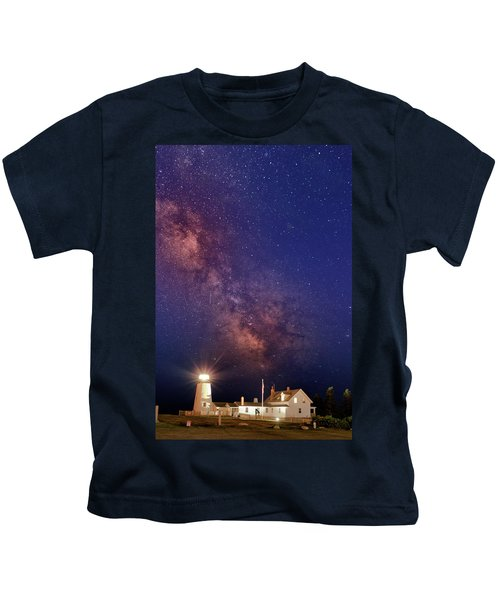 Pemaquid Point Lighthouse And The Milky Way Kids T-Shirt