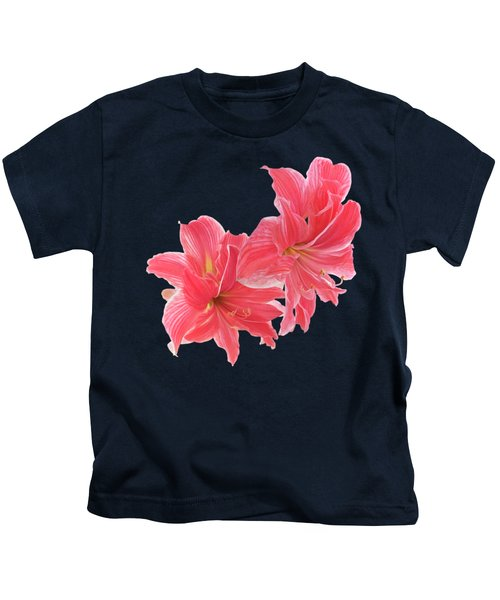Pink Amaryllis On Black Kids T-Shirt