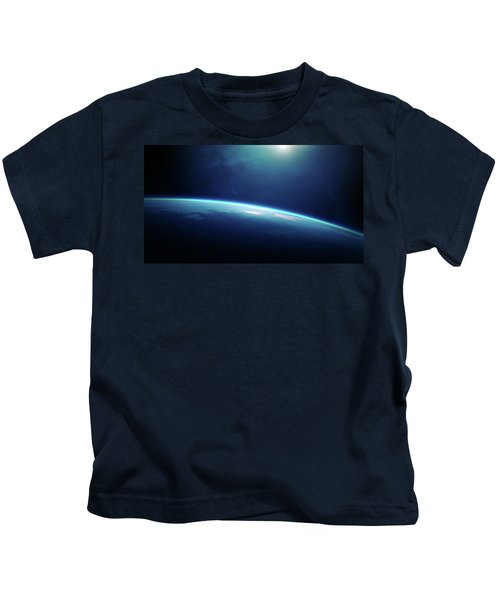 Planet Earth Sunrise From Space Kids T-Shirt