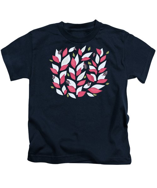 Pretty Plant With White Pink Leaves And Ladybugs Kids T-Shirt