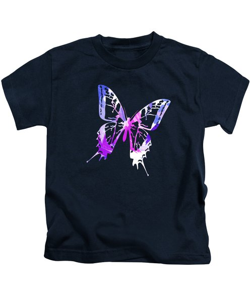 Kids T-Shirt featuring the mixed media Purple Abstract Paint Pattern by Christina Rollo
