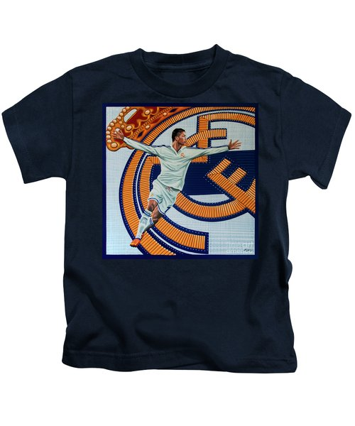 Real Madrid Painting Kids T-Shirt by Paul Meijering