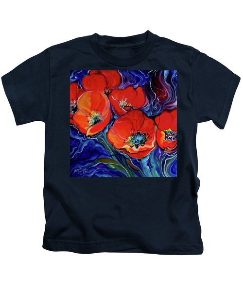 Red Floral Abstract Kids T-Shirt