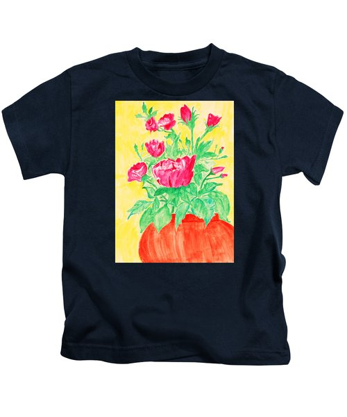 Red Flowers In A Brown Vase Kids T-Shirt