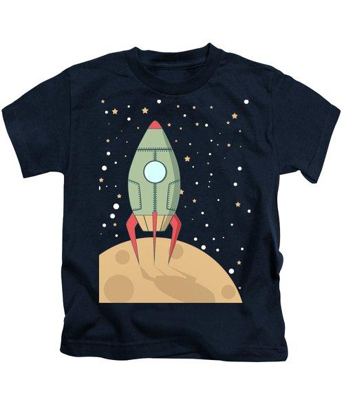 Retro Spaceship Kids T-Shirt by Krokoneil