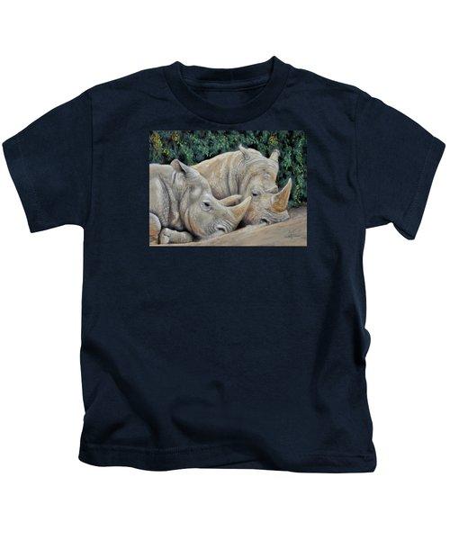 Rhinos Kids T-Shirt by Sam Davis Johnson