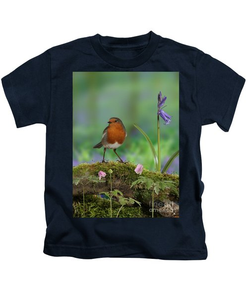 Robin In Spring Wood Kids T-Shirt