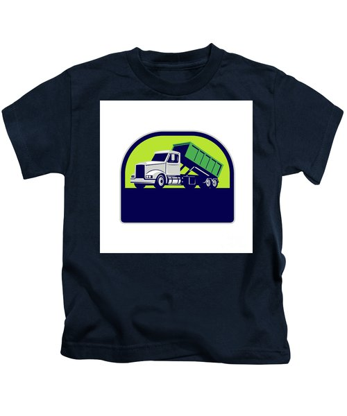 Roll-off Truck Side Up Half Circle Retro Kids T-Shirt