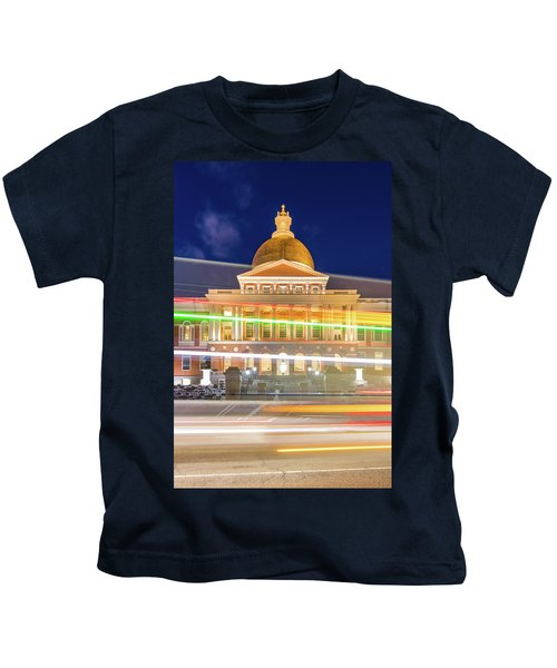 Rush Hour In Front Of The Massachusetts Statehouse Kids T-Shirt