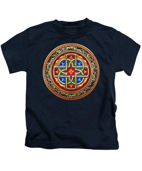 Sacred Celtic Cross On Green Kids T-Shirt