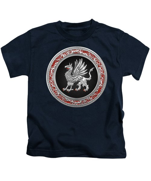 Sacred Silver Griffin On Blue Leather Kids T-Shirt