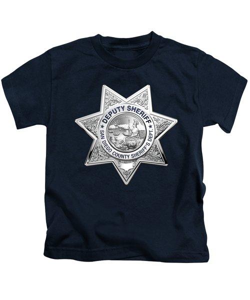 San Diego County Sheriff's Department -  S D S O  Deputy Sheriff Badge Over Blue Velvet Kids T-Shirt