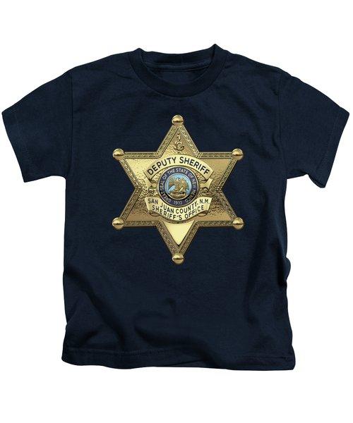 San Juan County, N. M. Sheriff's Office -  S J C S O  Deputy Sheriff Badge Over Blue Velvet Kids T-Shirt
