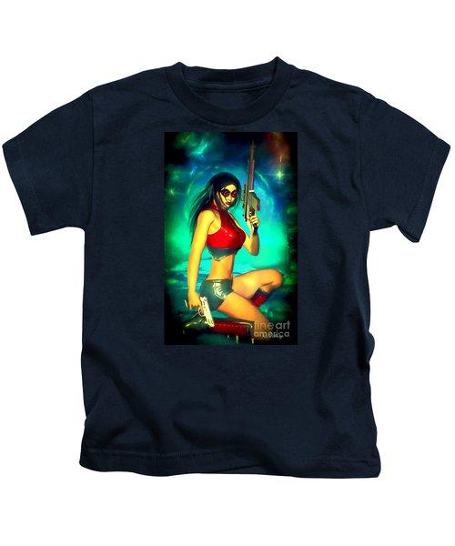Sci-fi Brunette With Two Guns Kids T-Shirt