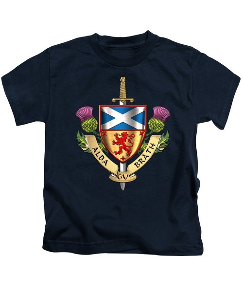 Scotland Forever - Alba Gu Brath - Symbols Of Scotland Over Blue Velvet Kids T-Shirt