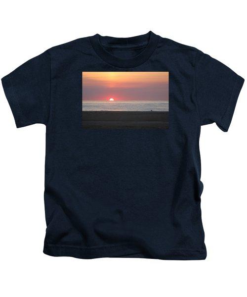 Seagull Watching Sunrise Kids T-Shirt
