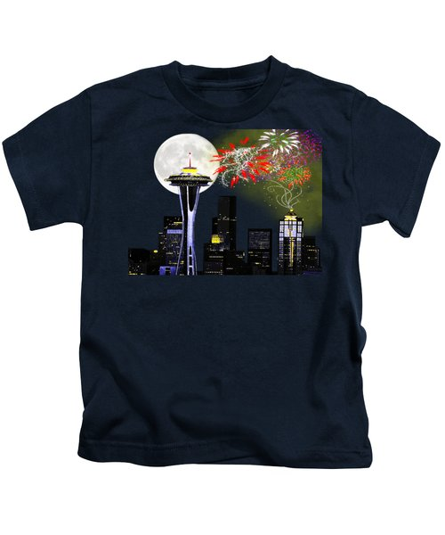 Seattle Skyline Kids T-Shirt by Methune Hively