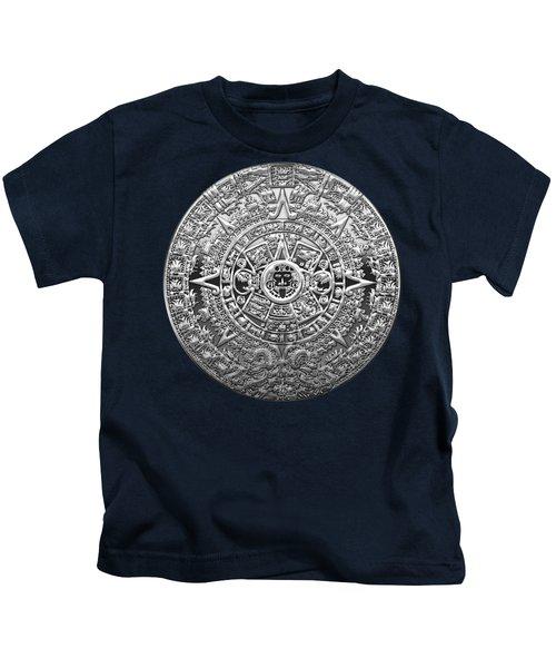 Silver Mayan-aztec Calendar On Blue Kids T-Shirt